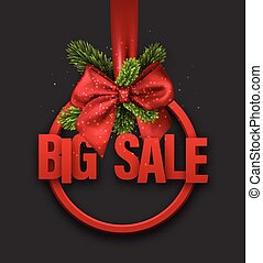 Red big sale card with bow.