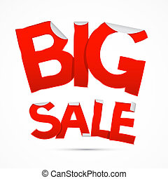 Red Big Sale Sticker - Label on white background