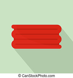 Red big towel icon, flat style - Red big towel icon. Flat...