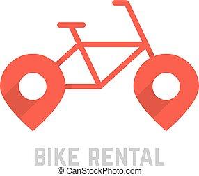 red bike rental logo with map pin