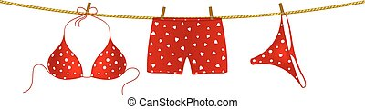 Red bikini and boxer shorts on rope - Red bikini suit with...