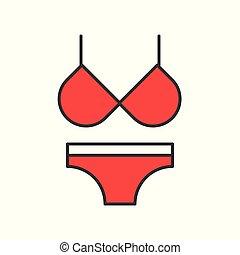 red bikini, filled color outline editable stroke