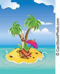 Red Bikini Girl on Island