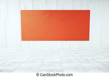 Red billboard in room