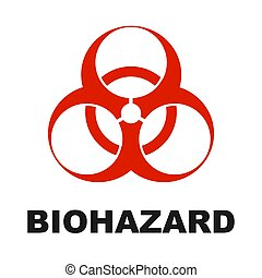 red biohazard warning sign or logo on a white background. Vector illustration.