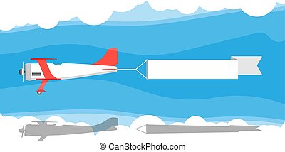 Red biplane with air ribbon banner vector illustration. ...