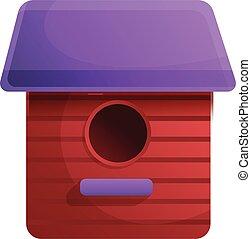 Red bird house icon, cartoon style