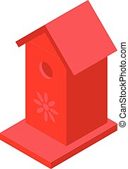 Red bird house icon, isometric style
