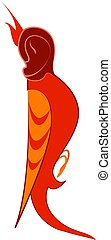 Red bird, illustration, vector on white background.