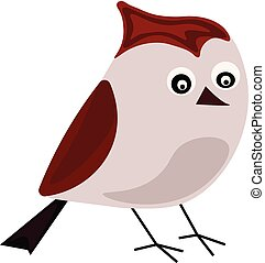 Red bird, illustration, vector on white background.