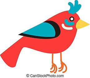 Red bird illustration vector on white background