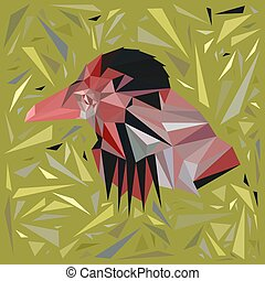 Red bird in a frame of scattered yellow triangles.