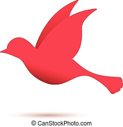 red bird in flight