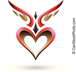 Red Bird Like Winged Heart with a Shadow Vector Illustration