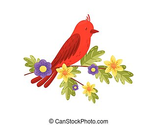 Red bird on white background. Vector flat illustration.