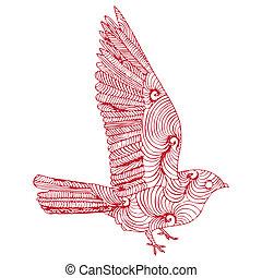 bird - red bird ready to fly