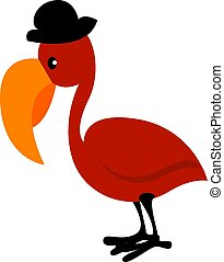 Red bird with hat, illustration, vector on white background.