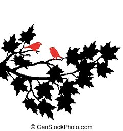 red birds in the boughs