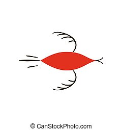 red birds. National northen paintings. Folk handicrafts. Enchanting original ornaments. Simplicity. Red flat duck, goose