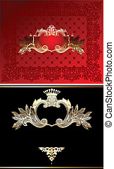 Red, Black And Gold Glow Ornate Background