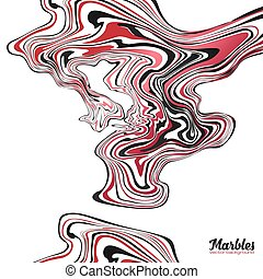 Red, black and white colors wavy marble effect abstract background