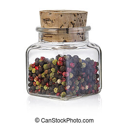 peppers in a glass bottle