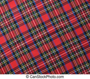 Red black and White rustic plaid fabric swatch textile background.