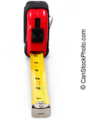 Red, black and yellow tape measure over white background. Focus on number 1 and 2.