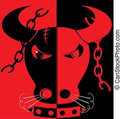 red-black, arrabbiato, fondo, toro