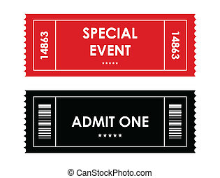 red-black, biljett, speciellt evenemang