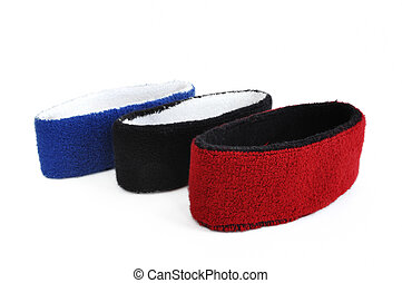 Red, Black & Blue Sweatbands (Headbands) Isolated on White...