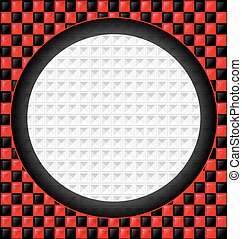 red-black cubes and white hole - abstract colored background...