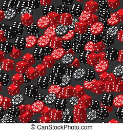 Red Black Dice and Poker Chips Seamless Pattern, 3D Illustration