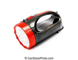 red - black flashlight isolated on white background