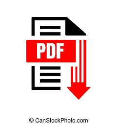 sign of pdf download logo icon button isolated on white background