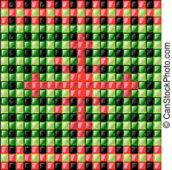 red, black, green glossy cubes - abstract colored background...