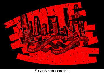 Red Black Grunge Graffiti Banner