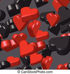 Red Black Hearts Seamless Pattern