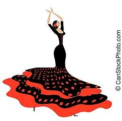 red-black, mulher, flamenco