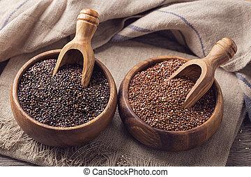 Red, black quinoa seeds