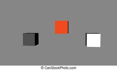 Red Black White Cubes Loop Moving, 3D Rendering