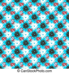 red black white flowers on a blue background vector illustration