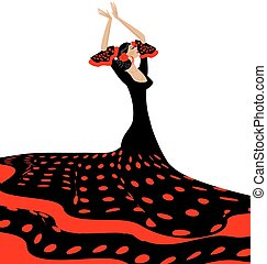 red-black woman and flamenco