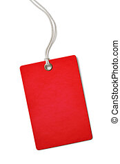 Red blank cardboard price or sale tag isolated