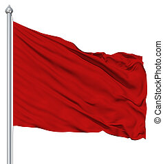 Red blank flag with flagpole waving in the wind against...