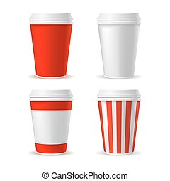 Red Blank Plastic Cup Set. Vector