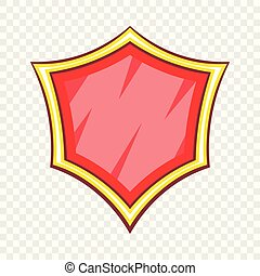 Red blank safety shield icon, cartoon style
