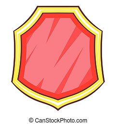 Red blank shield icon, cartoon style