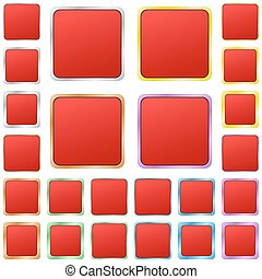 Red blank square metal button set