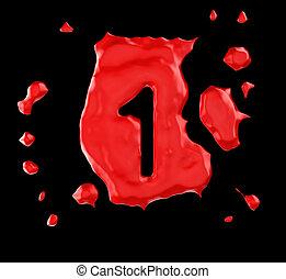Red blob 1 figure over black background. Large resolution